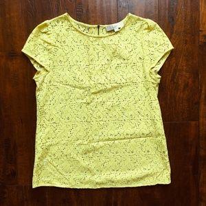 LOFT Bright Yellow Lace Zip-Back Top